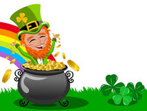 St Patrick or Saint Patrick s exulting inside pot of gold frame isolated. On white Royalty Free Stock Images