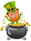 St Patrick or Saint Patrick s exulting inside pot of gold isolated Royalty Free Stock Image