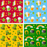 St. Patrick Seamless Patterns. Collection of four colorful St. Patricks or Saint Patrick s Day seamless backgrounds, useful also as design elements for textures vector illustration