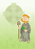 St Patrick with shamrock and celtic cross Royalty Free Stock Photography