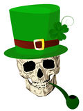 St.Patrick skull. With four leaves clover hat and pipe Stock Photo
