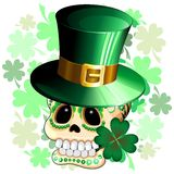 St. Patrick Skull Cartoon Stockfotos