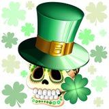 St Patrick Skull Cartoon con Lucky Shamrock Vector Illustration stock de ilustración