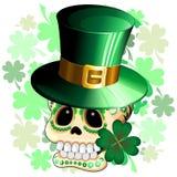 St Patrick Skull Cartoon. St Patrick Laprechaun's Sugar Skull Cartoon Character, biting a Shamrock, representing a Paddy's fun Parody. Vector graphic art Stock Photos