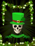 St.Patrick skull and clovers. Conceptual label with St.Patrick theme, tarot card Stock Images
