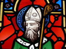 St. Patrick, stained glass image. A stained glass image of St. Patrick, patron saint of Ireland Royalty Free Stock Images