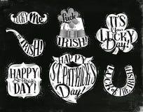 St Patrick symbols chalk. St Patrick celebration symbols mustache, smoke pipe, hat, clover, frame, beard, horseshoe drawing with chalk on chalkboard background Royalty Free Stock Image