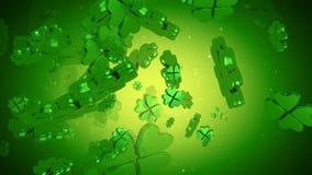 St Patrick Tag - Blatt-Klee-Animation des Grün-vier stock abbildung