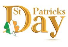 St.Patrick Tagesgoldtext Stockfoto