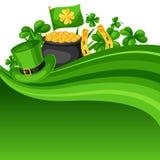 St Patrick Tageskarte Flagge, Goldschatzmünzen, Shamrocks, grüner Hut und Hufeisen Lizenzfreie Stockbilder