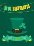St Patrick Tagespartei mit Flagge und grünem Hut, Illustration Lizenzfreie Stockbilder