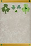 St. Patrick textured shamrocks. Happy St. Patrick's Day! Celebrate with these multiple shamrocks, each with a unique texture & color, horizontal gold frame, lush Stock Image