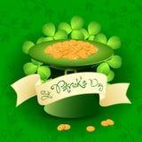 St. Patricks与妖精帽子的日看板卡 库存图片