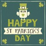 St Patricks与妖精猫头鹰的天卡片 免版税库存照片