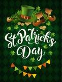 St Patricks天假日海报设计 也corel凹道例证向量 库存照片