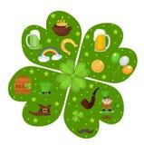 St Patricks天在三叶草形状设计元素的象集合 在现代平的样式的传统爱尔兰标志 隔绝  库存照片