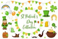 St Patricks天象布景元素 在现代平的样式的传统爱尔兰标志 背景查出的白色 免版税库存照片