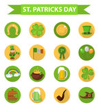 St Patricks天象布景元素 在现代平的样式的传统爱尔兰标志 背景查出的白色 库存图片