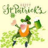 St Patricks妖精用啤酒 库存照片