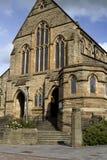 St Patricks教会和街道Coatbridge,北拉纳克郡在苏格兰在英国, 08 08 2015年 图库摄影