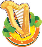 St.Patricks日符号。 爱尔兰竖琴 免版税库存图片