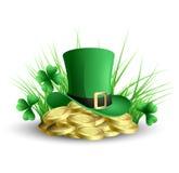St Patricks日绿色三叶草背景 免版税图库摄影