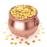 St Patricks有金黄硬币的天罐 免版税图库摄影