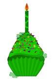 St Patricks Dag Cupcake met Kaars en Klaver Stock Fotografie