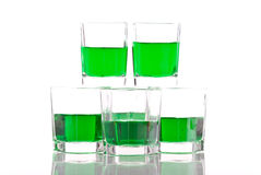 St. Patricks Day. Green Dyed Liquor Royalty Free Stock Images