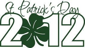 St. Patricks Day 2012. Green design for St. Patricks Day 2012 with 4 leaf clover as 0 in 2012 Stock Photography