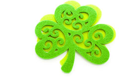St. Patricks Day. Doilies on green background Stock Photography