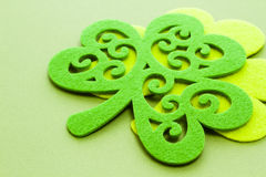 St. Patricks Day. Doilies on green background Stock Photo