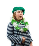 St Patricks Day. A young girl dressed for St Patricks Day, isolated against a white background Royalty Free Stock Image