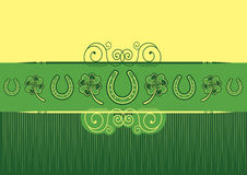 St. Patricks Day abstract background. With horseshoes decoration Stock Photo
