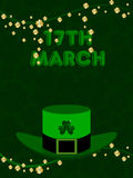 St. Patricks Day Background. Vector illustration of a green hat with the branches of shamrock's leaf with text 17 March for St. Patrick's Day Stock Illustration