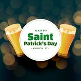 St patricks day background with beer mugs. Vector royalty free illustration