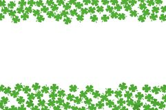 St Patricks Day background with both side borders and green quatrefoils isolated on white. St Patricks Day background - double side borders of green quatrefoils Stock Photo