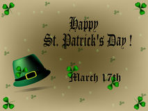 St. Patricks Day background/card. St. Patricks Day greeting card/background with text and cloverleaf Stock Photos