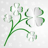 St. Patricks day background with clover. Paper Stock Photo