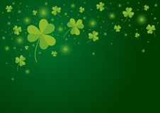 St Patricks day background design of shamrock leaves stock illustration