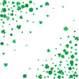 St. Patricks day background with flying clovers. Stock Photos