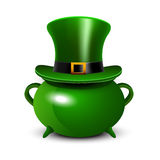 St.Patricks Day background with green cauldron and hat. St. Patricks Day symbol. St.Patricks Day background with green cauldron and hat. Vector illustration Royalty Free Stock Photography