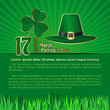 St. Patricks Day background with space for text. March 17th. Vector illustration with green leprechaun hat and shamrock clover. Vector symbols of St. Patricks Royalty Free Stock Image