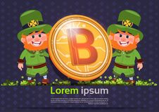 St. Patricks Day Background Template With Two Leprechaun Holding Bitcoin Coin Royalty Free Stock Photography