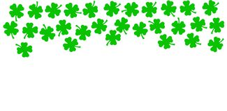 St Patricks Day festive background - upper border of green quatrefoils isolated on white background royalty free illustration