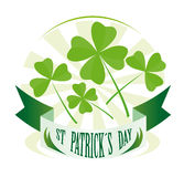 St patricks day badge. Green st patrick´s day badge with clovers Royalty Free Stock Image
