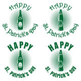 St. Patricks Day banner design with beer bottles Royalty Free Stock Photography