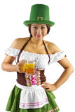 St Patricks Day Bartender. Young Asian female bartender dressed in costume for St Patrick's Day Stock Photo