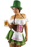 St Patricks Day Bartender. Young Asian female bartender dressed in costume for St Patrick's Day Stock Photos