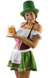 St Patricks Day Bartender. Young Asian female bartender dressed in costume for St Patrick's Day Royalty Free Stock Photography